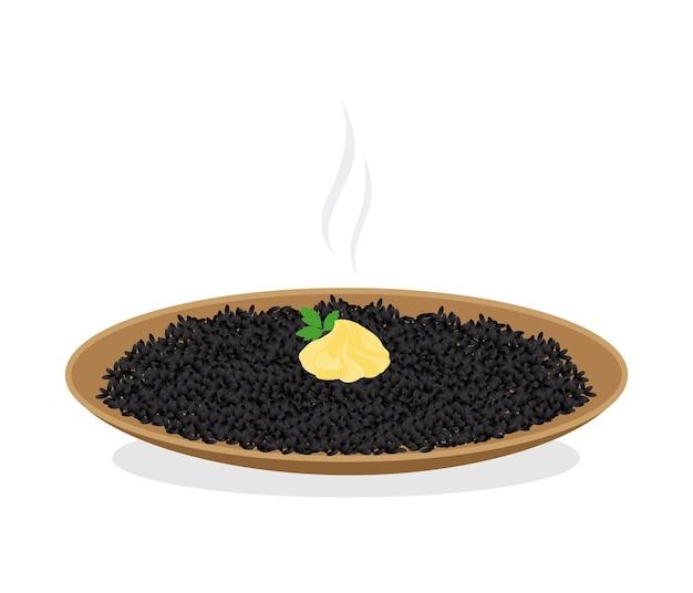 Czarny Ryż Z Aioli Premium Wektorów