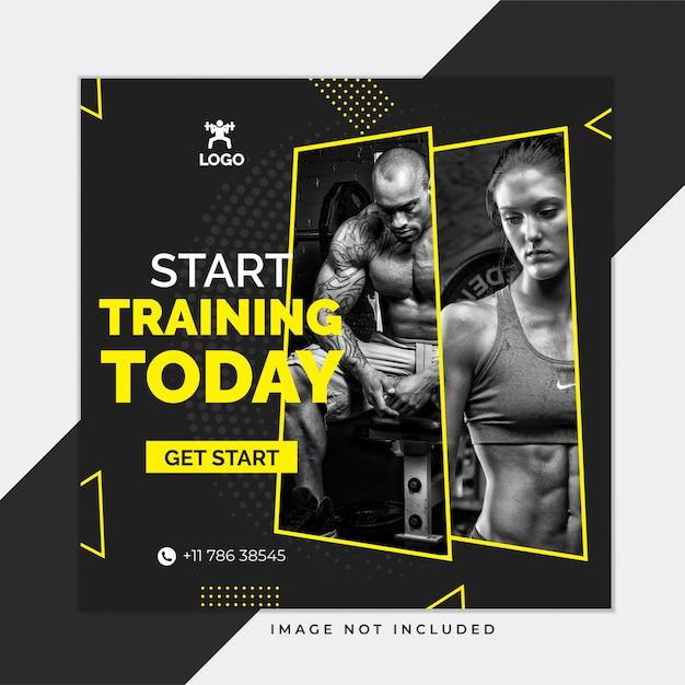 Czarny siłownia i fitness szablon mediów społecznościowych instagram post Premium Wektorów