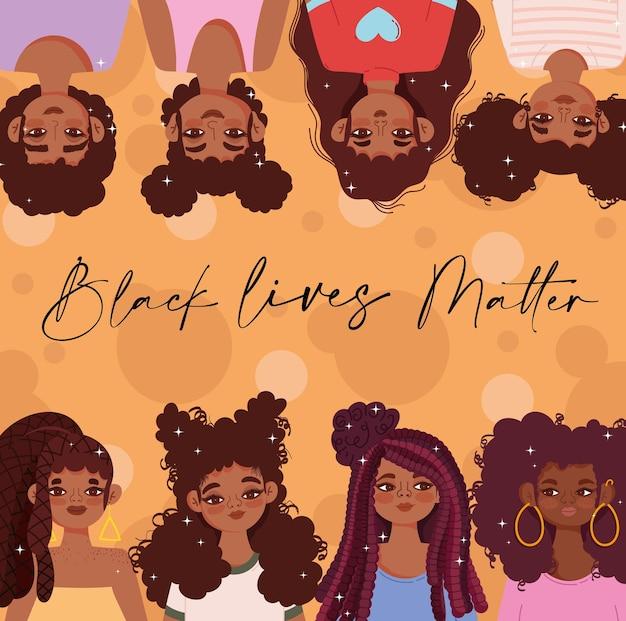 Czarny Szablon życia Ma Znaczenie Z Czarnymi Młodymi Dziewczynami Premium Wektorów