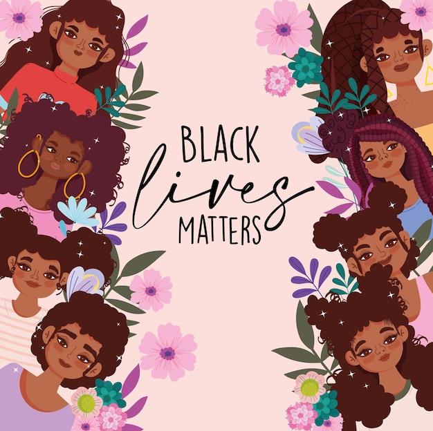 Czarny Szablon życia Materii Z Afrykańskimi Młodymi Dziewczynami Premium Wektorów