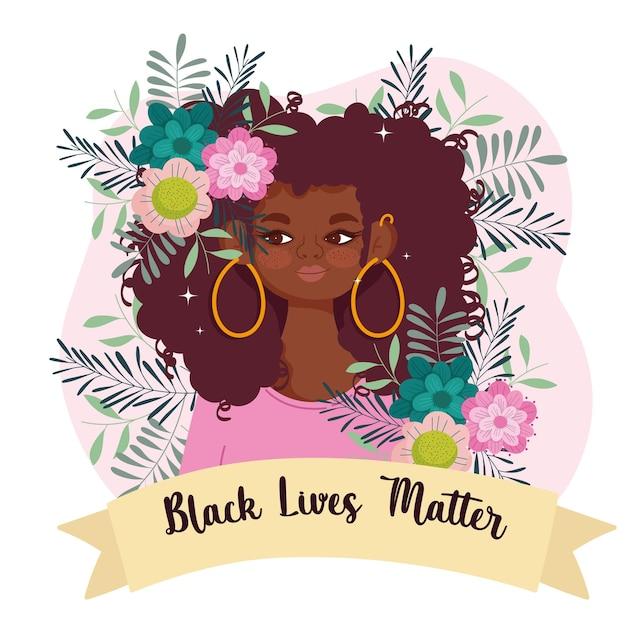 Czarny Szablon życia Materii Z Uroczą Afro Kobietą, Kwiatami I Wstążką Premium Wektorów