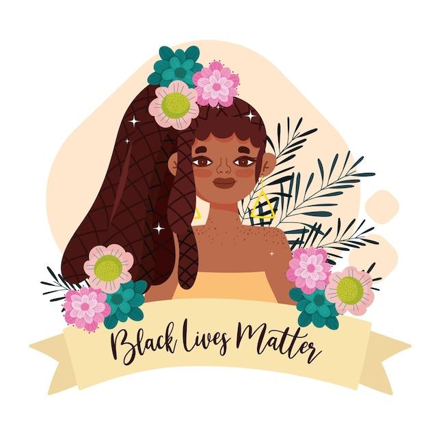 Czarny Szablon życia Materii Z Uroczą Kobietą, Kwiatami I Wstążką Premium Wektorów