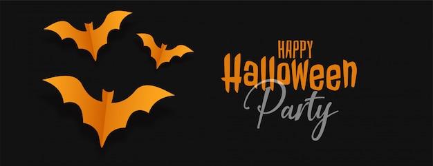 Czarny sztandar halloween z żółtymi nietoperzami origami Darmowych Wektorów