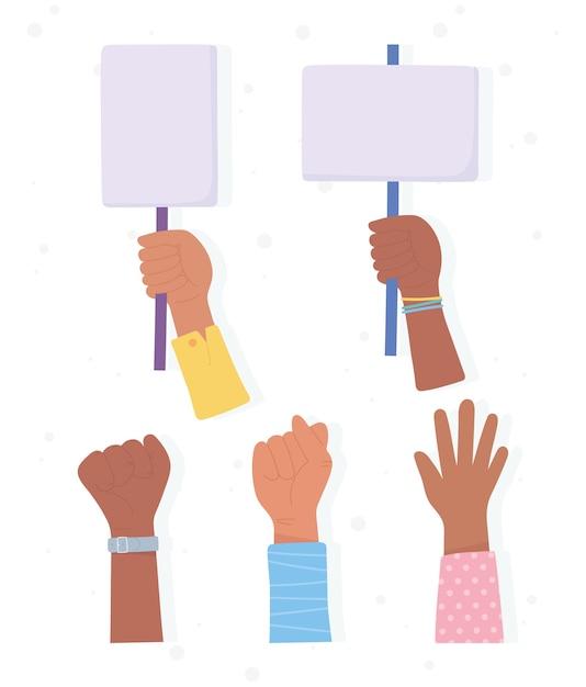 Czarny Sztandar Na Protesty, Podniesione Ręce Z Demonstrantami, Kampania Uświadamiająca Przeciwko Dyskryminacji Rasowej Premium Wektorów