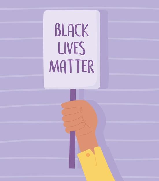 Czarny Sztandar Na Protesty, Trzymający Plakat W Dłoni, Kampania Uświadamiająca Przeciwko Dyskryminacji Rasowej Premium Wektorów