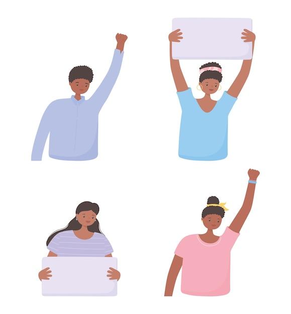 Czarny Sztandar Na Temat życia Na Znak Protestu, Kobiety I Mężczyźni Z Transparentami, Kampania Uświadamiająca Przeciwko Dyskryminacji Rasowej Premium Wektorów