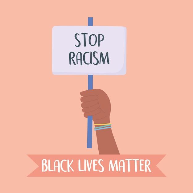 Czarny Sztandar Na Znak Protestu, Trzymający Się Za Rękę Plakat Zatrzymujący Rasizm, Kampania Uświadamiająca Przeciwko Dyskryminacji Rasowej Premium Wektorów