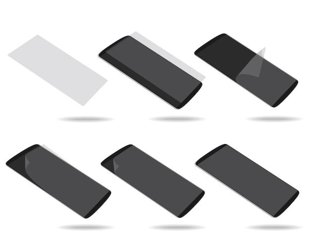 Czarny wyświetlacz smartfonów ze szkłem ochronnym ustawia różne skróty Premium Wektorów