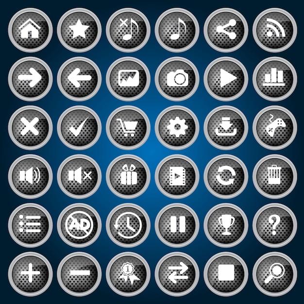 Czarny Zestaw Ikon Przycisków Metalowy Styl Projektowania Dla Sieci I Gier. Premium Wektorów