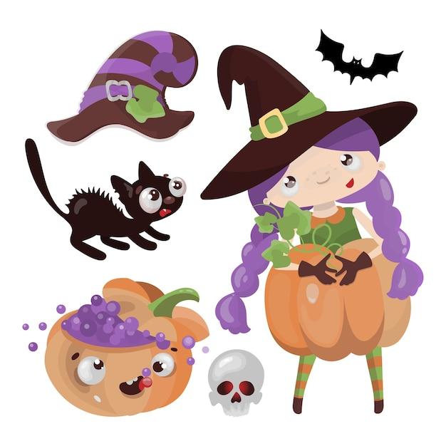 Czarownica Dyni Mystic Wizard Wakacje Halloween Kreskówka Ręcznie Rysowane Dziewczyna Premium Wektorów