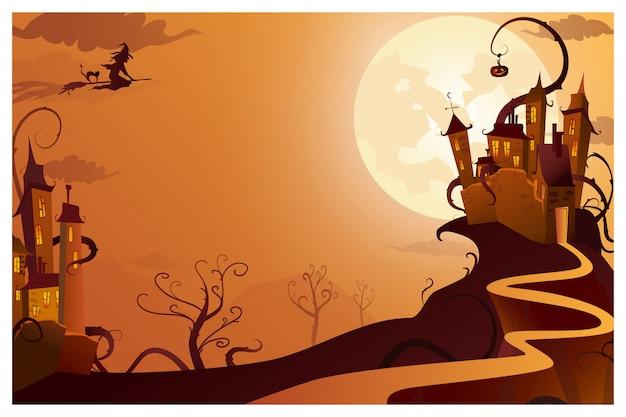 Czarownica leci do tajemniczej ilustracji domu Darmowych Wektorów