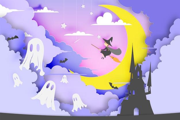 Czarownica Na Miotle Stylu Art Papier Z Dyni Uśmiech I Zamek Na Imprezie Z Okazji Halloween Premium Wektorów