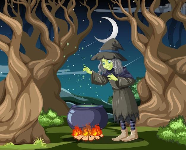 Czarownica W Stylu Cartoon Czarny Magiczny Garnek Na Tle Ciemnej Dżungli Premium Wektorów