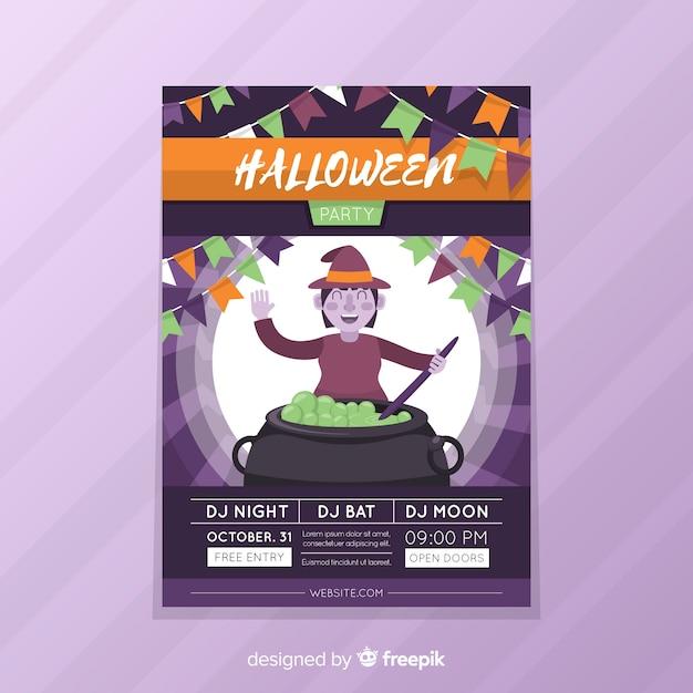 Czarownica Z Tyglu Ulotki Halloween Party Darmowych Wektorów