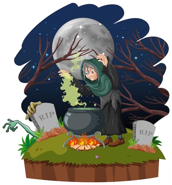Czarownik Lub Czarownica Z Magicznym Garnkiem I Grobowcem Na Ciemnym Lesie Odizolowywającym Na Białym Tle Darmowych Wektorów