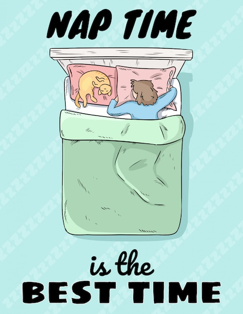 Czas drzemki to najlepszy czas, ładny dziewczyna śpi w łóżku z kotem na poduszce Premium Wektorów