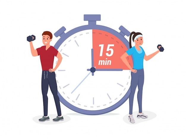 Czas fitness płaski Premium Wektorów