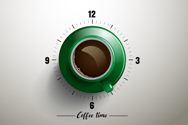 Czas Kawy Z Koncepcją Zegara Premium Wektorów