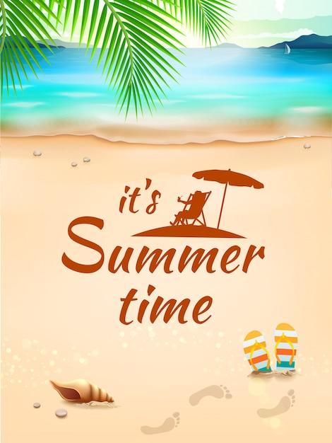 Czas Letni Na Tle Pejzaż Morski, Plaża, Fale Z Realistycznymi Przedmiotami. Ilustracja Premium Wektorów