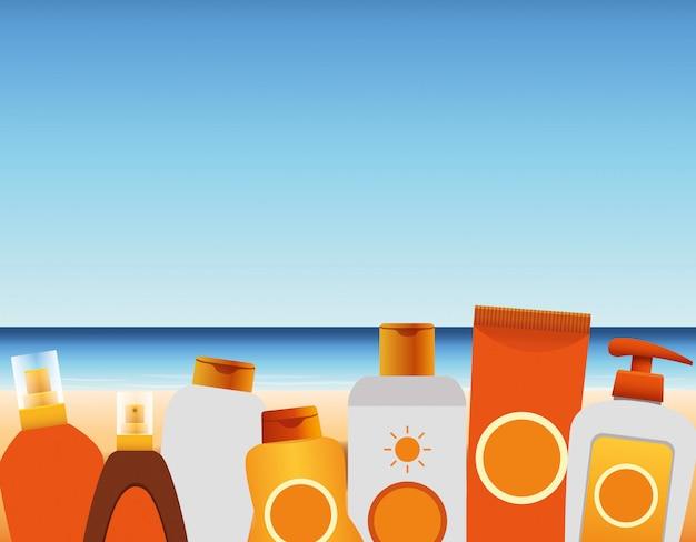 Czas Letni Na Wakacjach Na Plaży Butelki Tubki Kremowy Krem Przeciwsłoneczny Krem Z Morskiego Piasku Premium Wektorów
