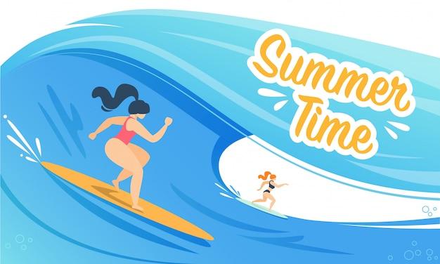 Czas letni transparent z kobietą surfowania na falach Premium Wektorów