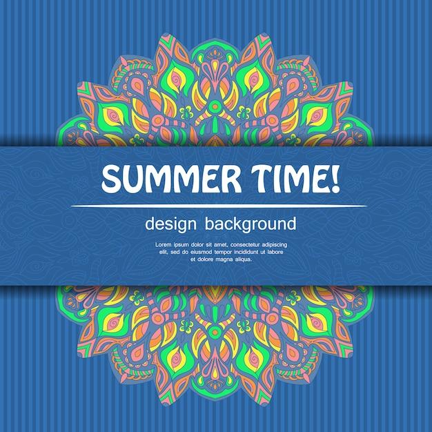 Czas letni w projektowaniu mandali. pochodzenie etniczne. Premium Wektorów