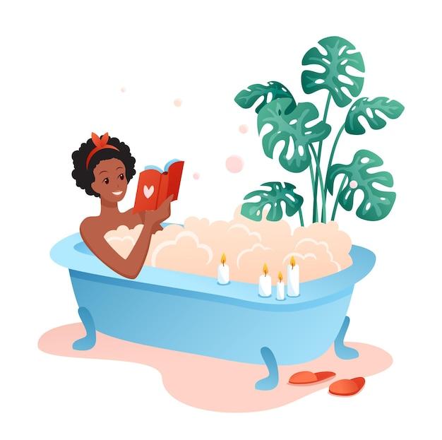 Czas Na Kąpiel. Postać Młodej Kobiety Leżącej W Wannie Pełnej Baniek Mydlanych I Czytania Książki Premium Wektorów