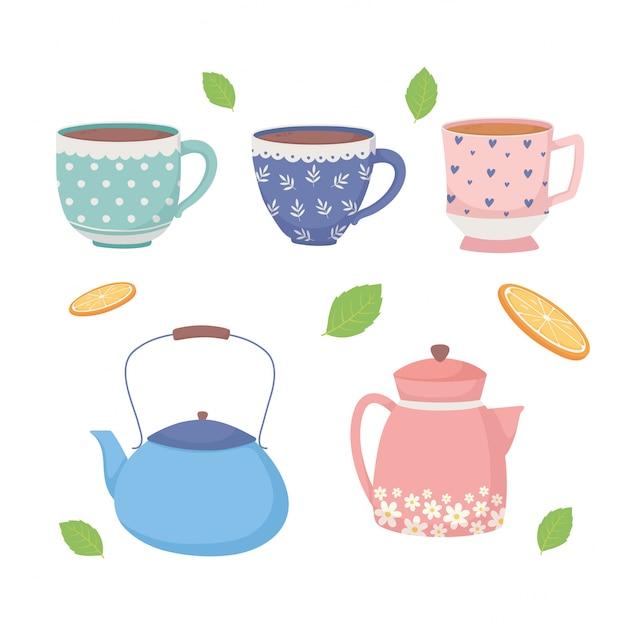 Czas Na Kawę I Filiżanki Herbaty Czajniki I Liście Ikony Premium Wektorów