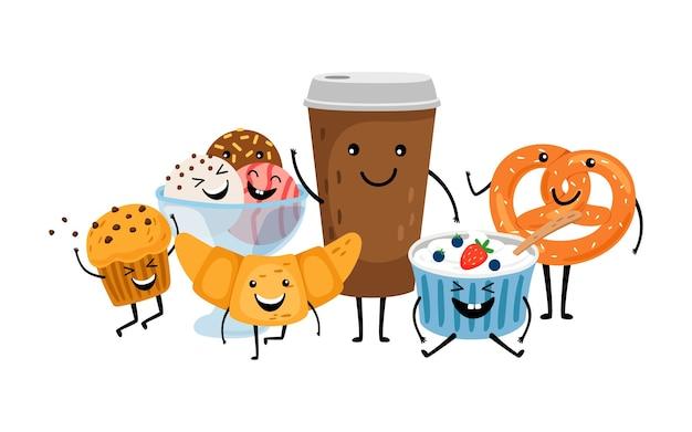 Czas Na Kawę. śliczny Poranny Napój I Desery. Na Białym Tle Zabrać Znaki Wektorowe Kawa, Muffinki I Lody Premium Wektorów