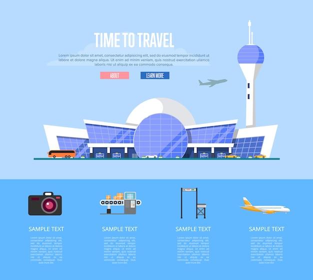 Czas na podróż transparent z terminalu lotniska Premium Wektorów