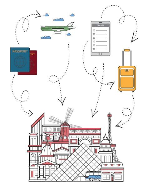 Czas podróży ilustracji w stylu liniowym Premium Wektorów