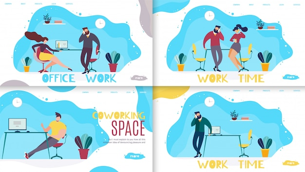 Czas pracy biurowej i zestawienie strony docelowej coworking space Premium Wektorów