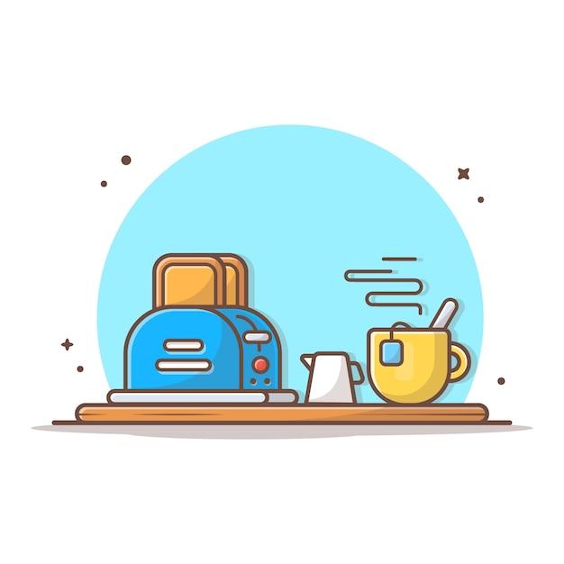 Czas śniadanie Ikona Wektor Ilustracja. Tosty Chlebowe Z Gorącą Herbatą. Projekt Menu śniadaniowego, Kawiarni I Restauracji Premium Wektorów