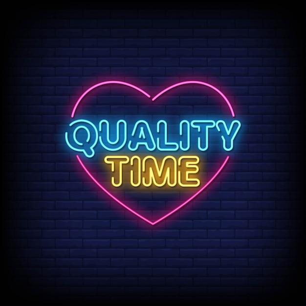 Czas Tekst Neon Znaki Jakości Premium Wektorów