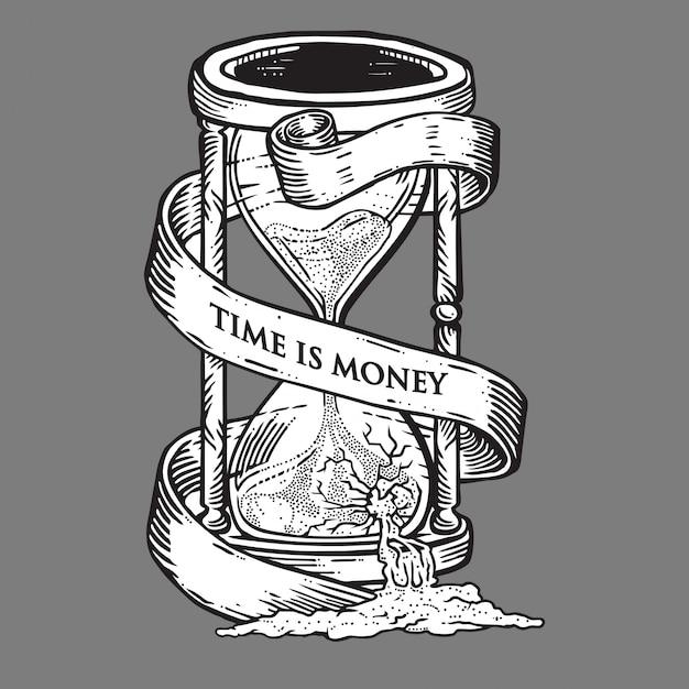 Czas To Pieniądz Klepsydry Premium Wektorów