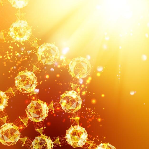 Cząsteczki Atomu Na Pomarańczowym Tle Z Błyszczącymi Iskrami. Darmowych Wektorów