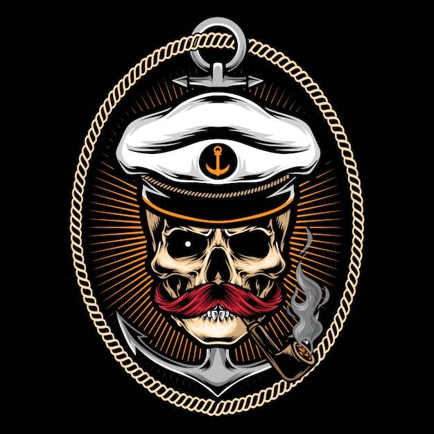 Czaszka kapitan z kotwicową tatuaż ilustracją Premium Wektorów