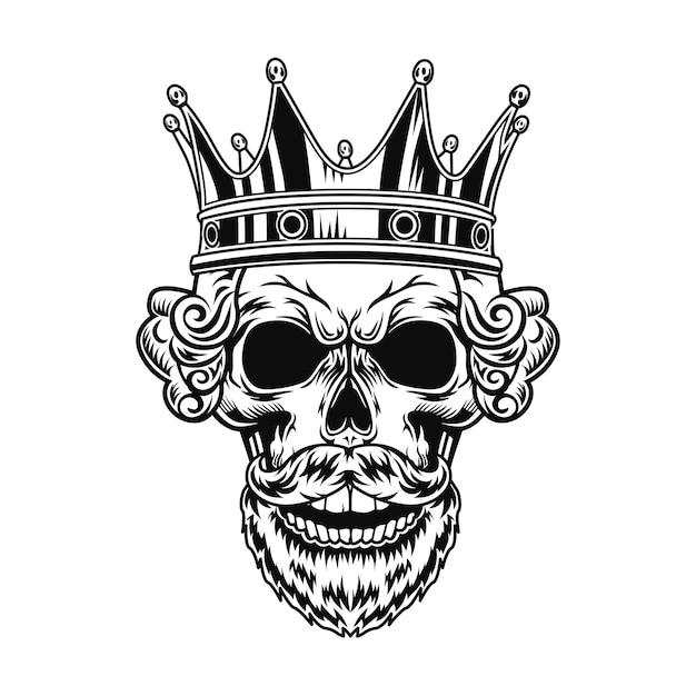 Czaszka Króla Ilustracji Wektorowych. Głowa Postaci Z Brodą, Królewską Fryzurą I Koroną Darmowych Wektorów