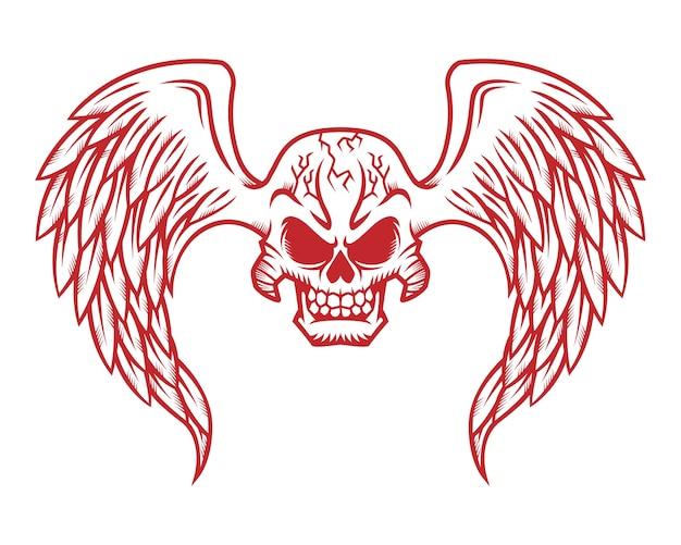 Czaszka Logo, Ikona Lub Czaszki Ilustracja Ze Skrzydłami Premium Wektorów