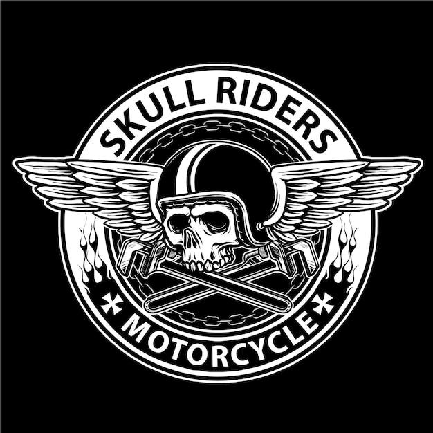 Czaszka Rowerzysty Z Zabytkowym Hełmem I Skrzydłami, Odpowiednia Na Logo Klubu Motocyklowego Premium Wektorów