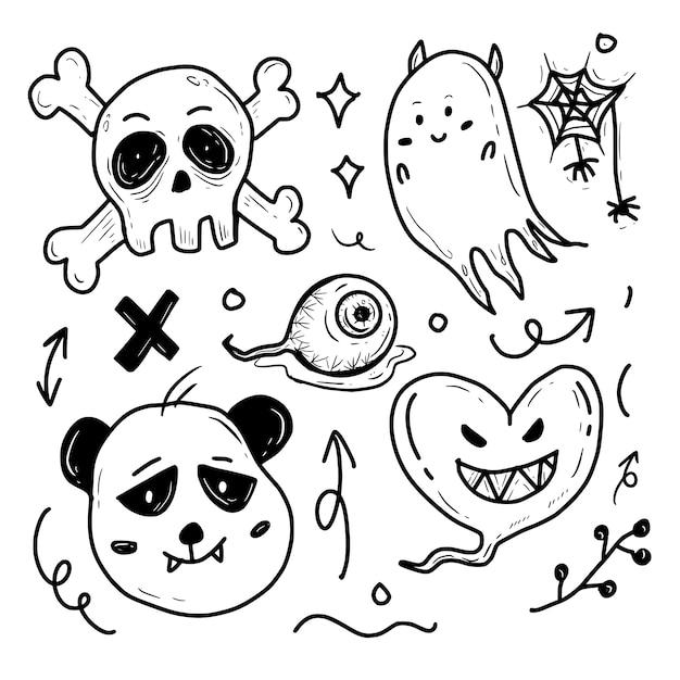 Czaszka Straszny Potwór Kreskówka Halloweenowa Naklejka Doodle Zestaw Premium Wektorów