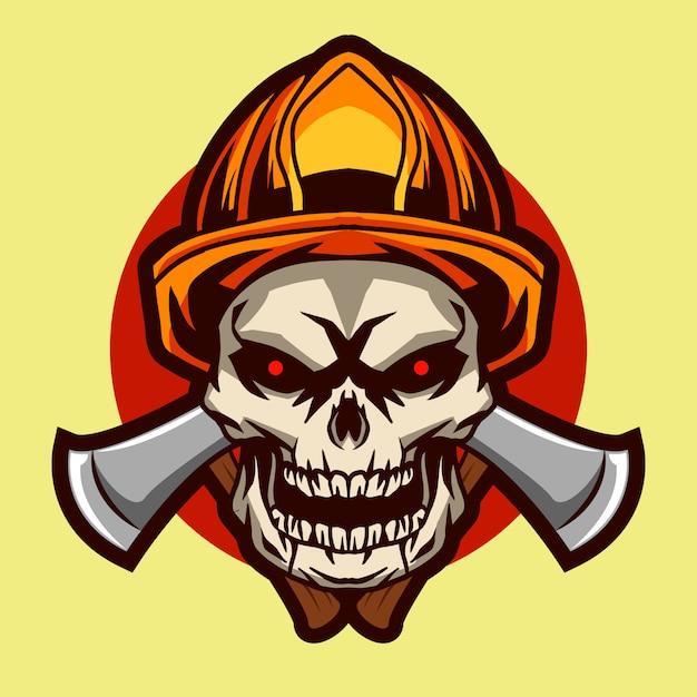 Czaszka Strażaka Odznaki Ilustracyjny Projekt Premium Wektorów
