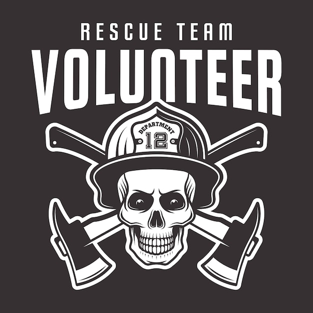 Czaszka Strażaka W Hełmie Z Nadrukiem, Emblematem Lub T-shirtem Ochotniczej Drużyny Ratowniczej Na Ciemnym Tle Premium Wektorów
