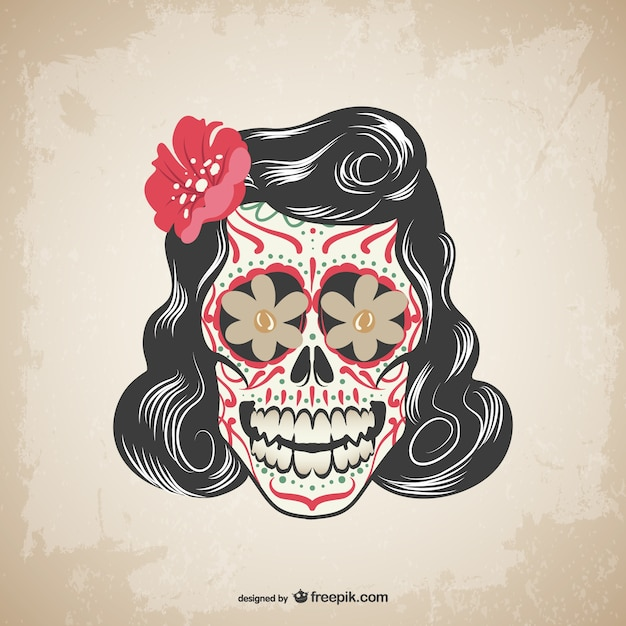 Czaszka tatuaż wektor kwiatowy Darmowych Wektorów
