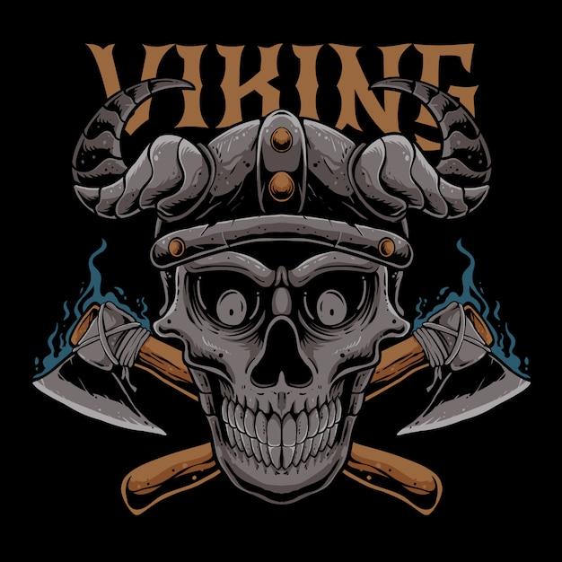 Czaszka Viking Z Osiami Ilustracyjnymi Premium Wektorów