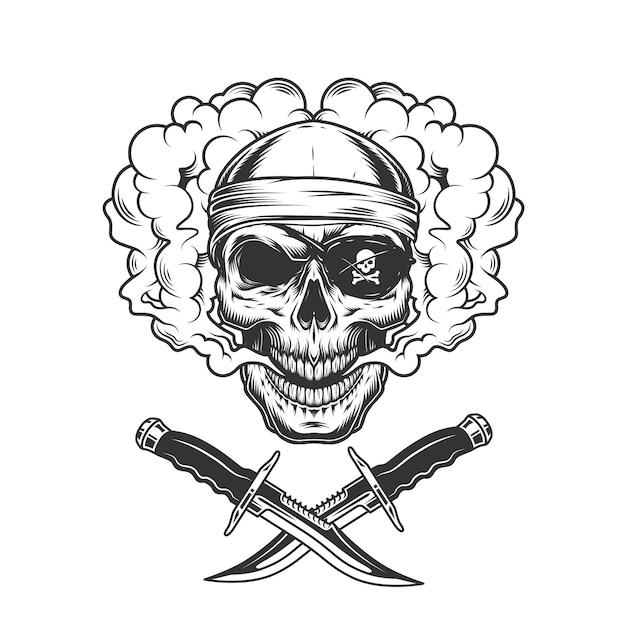 Czaszka W Opasce Na Oczy I Pirat Darmowych Wektorów
