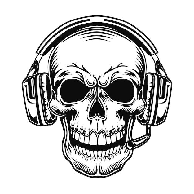 Czaszka Z Ilustracji Wektorowych Zestawu Słuchawkowego. Głowa Postaci W Słuchawkach Darmowych Wektorów