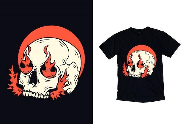 Czaszka Z Pożarniczą Ilustracją Dla T Koszula Projekta Premium Wektorów