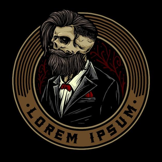 Czaszka Z Retro Plakietką Fryzjerską I Narzędziami Fryzjerskimi Odpowiednimi Do Logo Fryzury Fryzjerskiej Premium Wektorów
