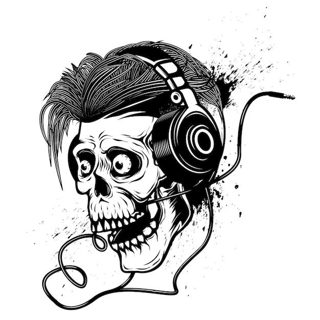 Czaszka Ze Słuchawkami Na Tło Grunge. Element Plakatu, Godła, Koszulki. Ilustracja Premium Wektorów